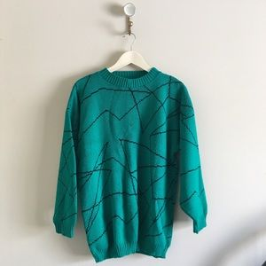 Vintage | Green Geometric Sweater